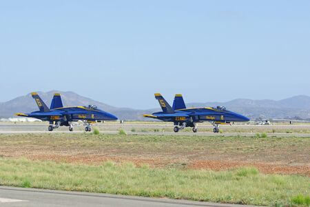 f18: Jet Blue Angels F-18 Hornet aircraft prepare for take-off