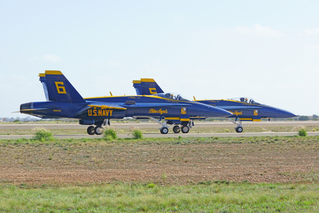 f18: Jet Blue Angels F-18 aircraft prepare for take-off at air show Editorial
