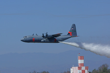 air demonstration: Fire C-130 water dropping demonstration at 2015 Air Show