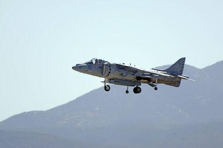 motor launch: Jet AV-8 Harrier landing at 2015 San Diego Air Show
