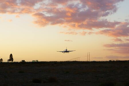 Jet landing at Los Angeles area airport