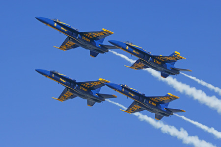 f 18: Jet airplanes of the Navy Blue Angels flying Editorial