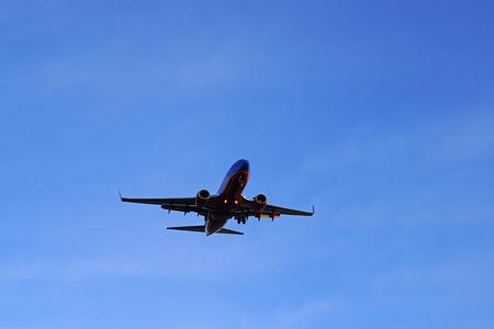 Jet landing at Ontario, California airport Editorial
