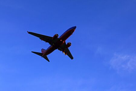 Jet Southwest Airlines 737 landing at Ontario, California airport