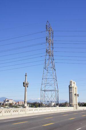 Electrical power tower at Los Angeles bridge Reklamní fotografie