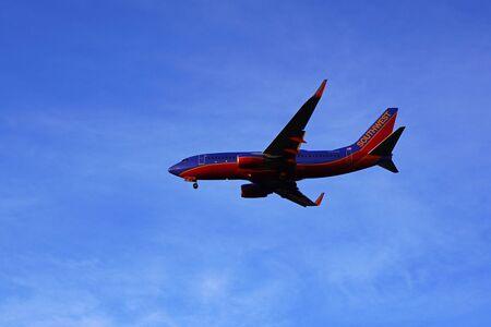 Jet 737 landing at Ontario, California airport