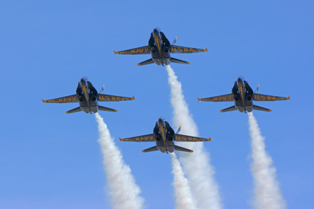 f18: Airplane Blue Angels F-18 Hornet jets in formation Editorial