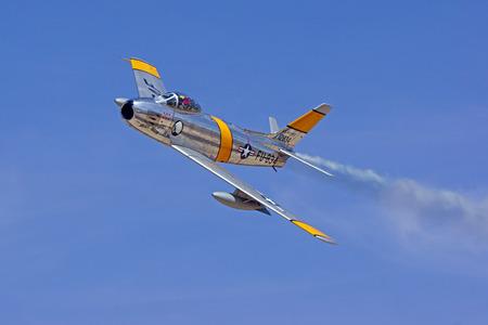 sabre: Airplane jet fighter F-86 Sabre vintage Korean War