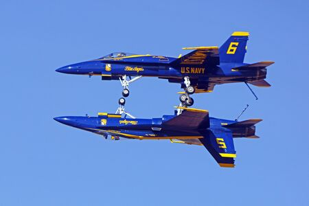 Airplane Blue Angels F-18 Hornet jets flying at Air Show