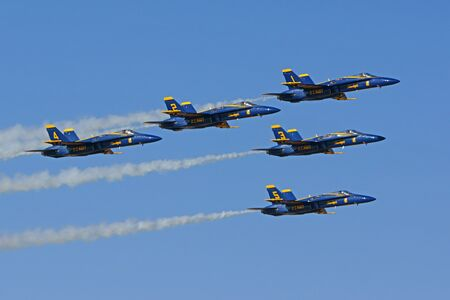 motor launch: Airplane Blue Angels F-18 Hornet jets performing at  Air Show Editorial