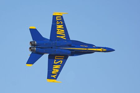 Airplane Blue Angels F-18 Hornet jets performing at  Air Show Editorial