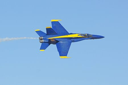 Airplane Blue Angels F-18 Hornet jets performing at Air Show