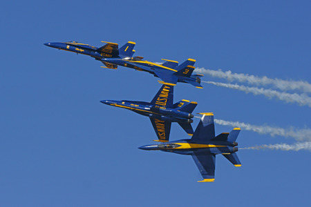 motor launch: Airplane Blue Angels F-18 Hornet jets performing at Air Show