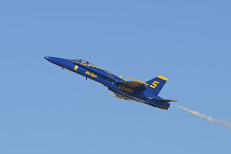 f18: Airplane Blue Angels F-18 Hornet jets performing at  Air Show Editorial