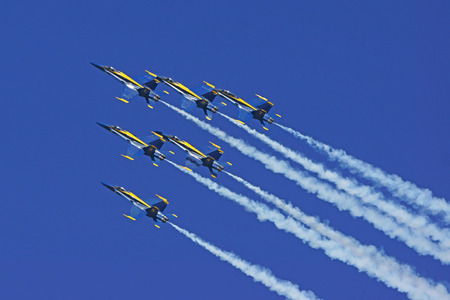 hornet: Airplane Blue Angels F-18 Hornet jets performing at  Air Show Editorial