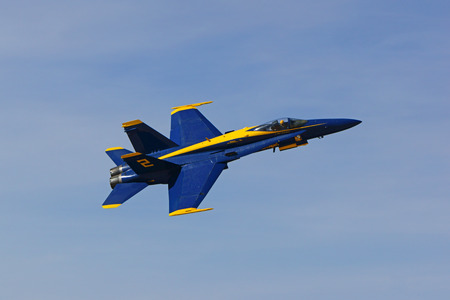 f18: Airplane jet fighter Blue Angels F-18 Hornet Editorial