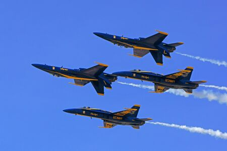 motor launch: Airplane Blue Angels jet fighters flying