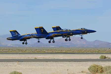 motor launch: Airplane Blue Angels jet fighters take-off at air show