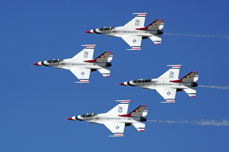 Airplane Thunderbirds F-16 Fighter jets flying in formation