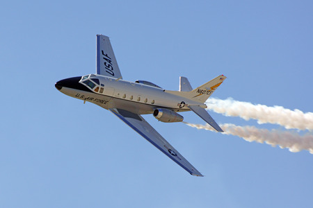 motor launch: Airplane T-39 Saberliner flying at Air Show