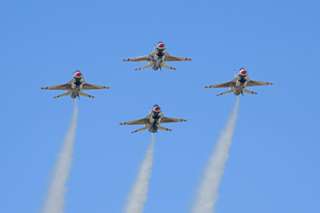 Airplane F-16 Thunderbirds fighter jets in formation