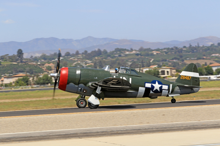 wwii: Airplane P-47 Thunderbolt vintage WWII Fighter Editorial