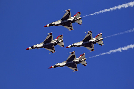 Airplane Thunderbirds F-16 jet fighters flying Editorial