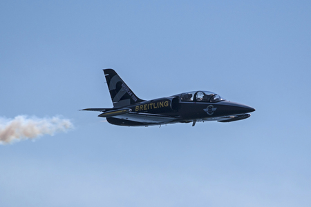 Airplane Breitling  Jet team flying at air show