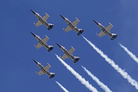 Airplanes Breitling Jet Team flying at air show