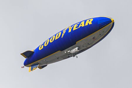 Rose Bowl Good Year Blimp flying over game Editorial