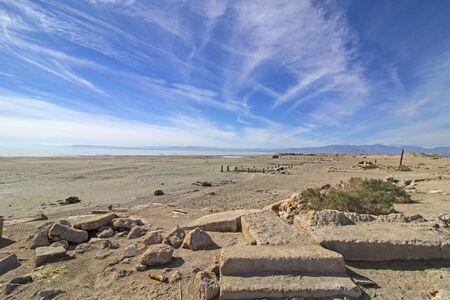 Desert abandoned pier dock at the Salton Sea in the California desert
