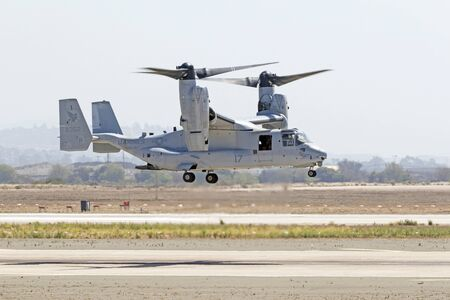 Helicopter MV-22 Osprey aircraft flying at the air show Editorial