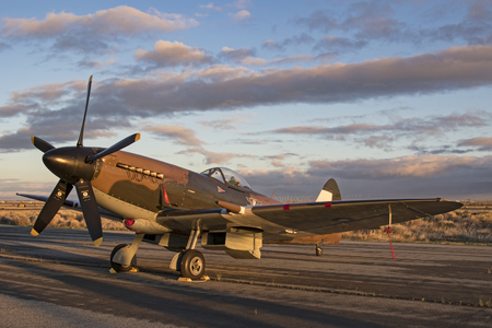 aerial bomb: Airplane WWII British Spitfire vintage aircraft on the runway