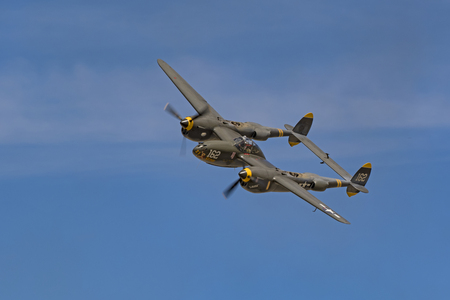 Airplane P-38 Lightning WWII vintage fighter aircraft