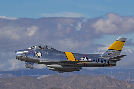 Airplane vintage F-86 Sabre jet flying at Los Angeles Air Show Editorial