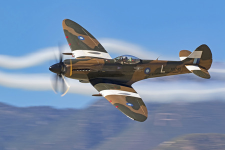Airplane WWII Spitfire aircraft flying at California air show