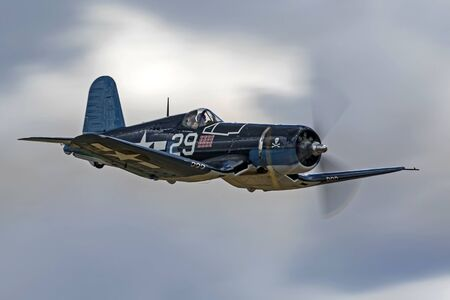 Airplane F4-U Corsair flying at Planes of Fame Air show