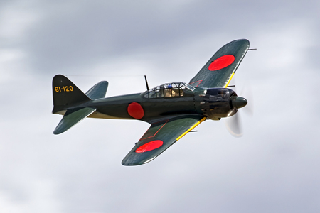 motor launch: Airplane Japanese WWII Zero fighter flying at air show