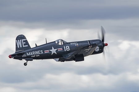motor launch: Airplane F4-U Corsair WWII fighter aircraft take-off