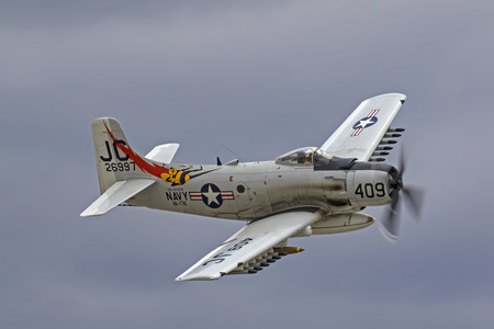 Aitrplane A-1 Skyraider aircraft flyng at air show