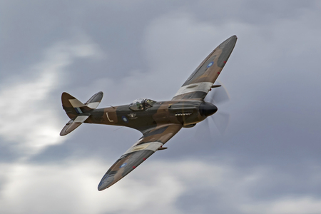 Airplane British WWII Spitfire fighter aircraft Editorial