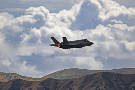 Airplane Stealth F-35 Lightning jet take-off