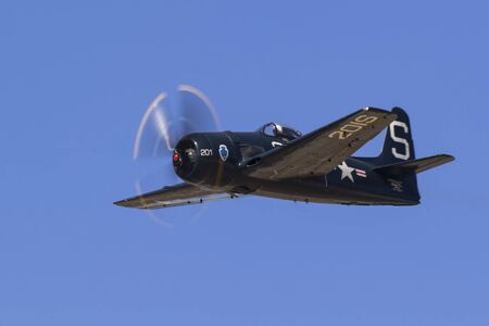 motor launch: Airplane WWII F8F Bearcat fighter aircraft Editorial