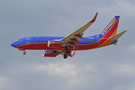 Airplane Southwest Airlines 737 jet landing