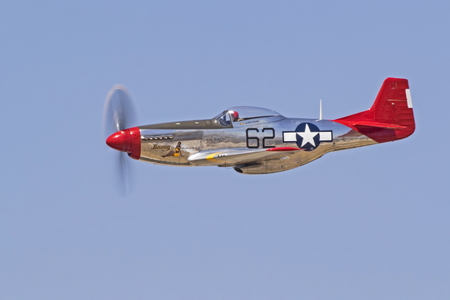 motor launch: Airplane P-51 Mustang red tail WWII fighter