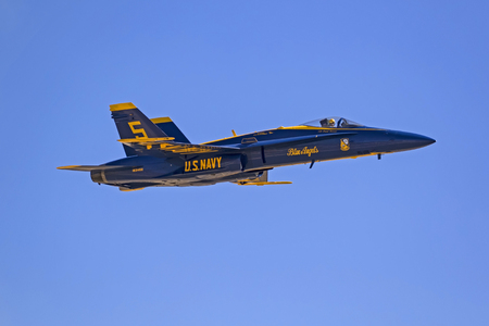 Airplane Blue Angels jet fighter flying at airshow