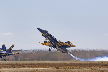 Airplane Navy Blue Angels F-18 Hornet jet take-off Editorial