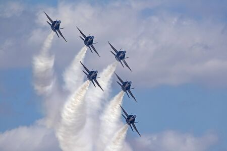 Airplane Blue Angels jets in formation Editorial