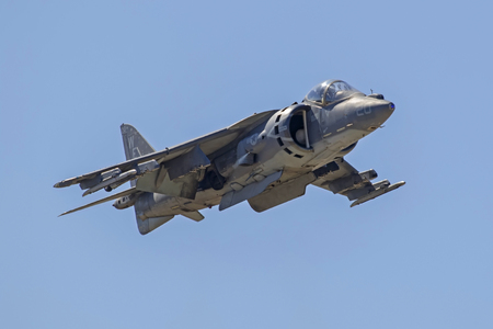 Airplane AV-8 Harrier jet flying at the airshow