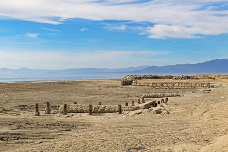 Desert landscape Bombay Beach at the Salton Sea Stock Photo